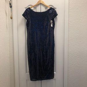 Blue Sequin Midi Dress